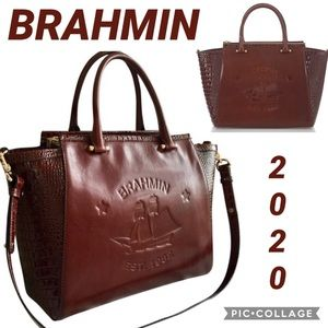 NWT BRAHMIN Leather Bag Taylor Cognac Elton Tote